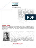 Ausubel's Theory of Meaningful Learning