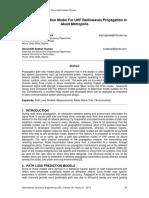 Path Loss Prediction Model For UHF Radiowaves Propagation In Akure Metropolis