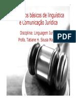 Aula 1 - Conceitos Básicos de Linguística e Comunicação Jurídica - Aula 1