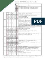 Calendar Academic Fall 2015