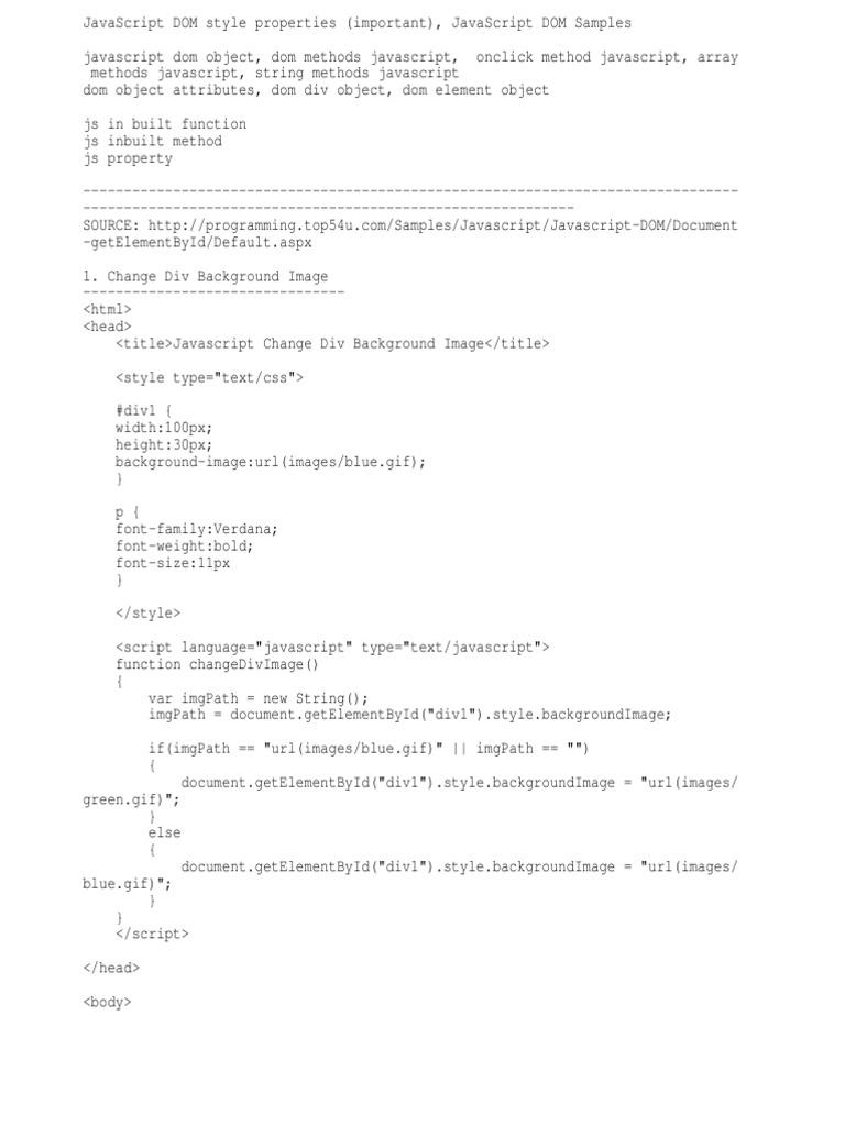 d Js Referrence | Html Element | Document Object Model
