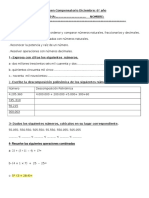 Evaluación de Matemática Plan 1