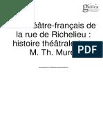 Théâtre-français de La Rue de Richelieu - Histoire Théâtrale Par M. Th. Muret 1861