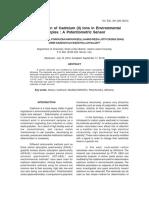 Cadmium (II) Ions in Environmental