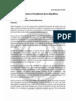 Carta a Presidencia de La República de Cuauhtémoc Blanco a 20 de Diciembre 2015