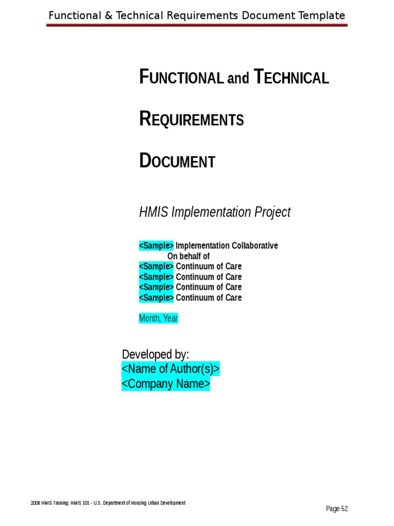 Functional And Technical Requirements Template User Interface