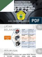 Uji Karakteristik Alternator Dengan Menggunakan Variasi Beban Lampu Pada Motor Bensin 4 Silinder 2000cc
