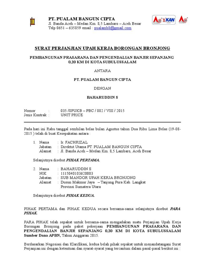 Kontrak Perjanjian Upah Kerja Bronjong Subulussalam