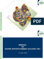 Briefing on Water Apportionment Accord 1991 8th June, 2012