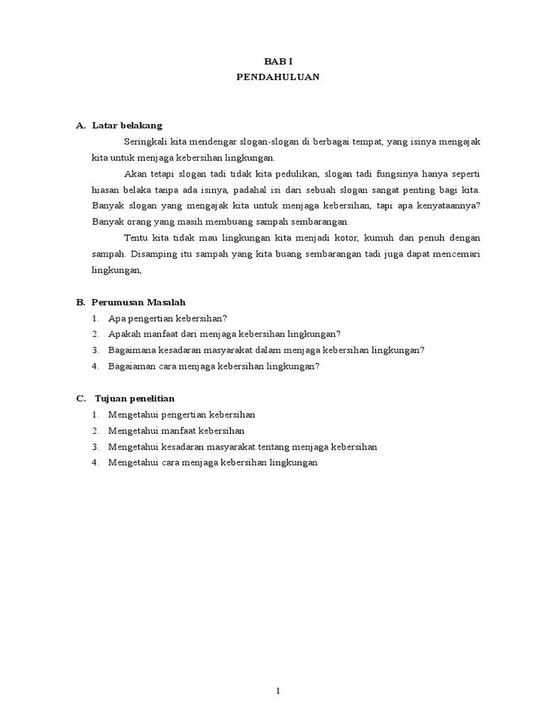 Contoh Proposal Tentang Kebersihan Lingkungan Sekolah Lakaran