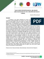 Desconcentração Versus Descentralização - Uma Análise Histórico-econômica Das Décadas de 1970 e 1980 Entre São Paulo e o Brasil