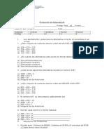 Evaluación Diferenciada  de Matemáticas 4°
