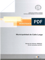 Informe CGR 965/2015 Fiscalización I. Municipalidad de  Calle Larga