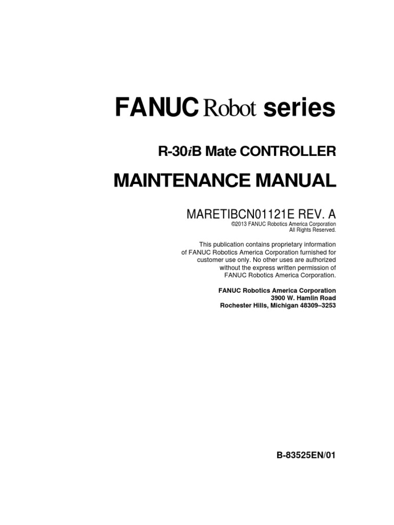 Fanuc Robot Series R30ib And Mate Controller Maintenance