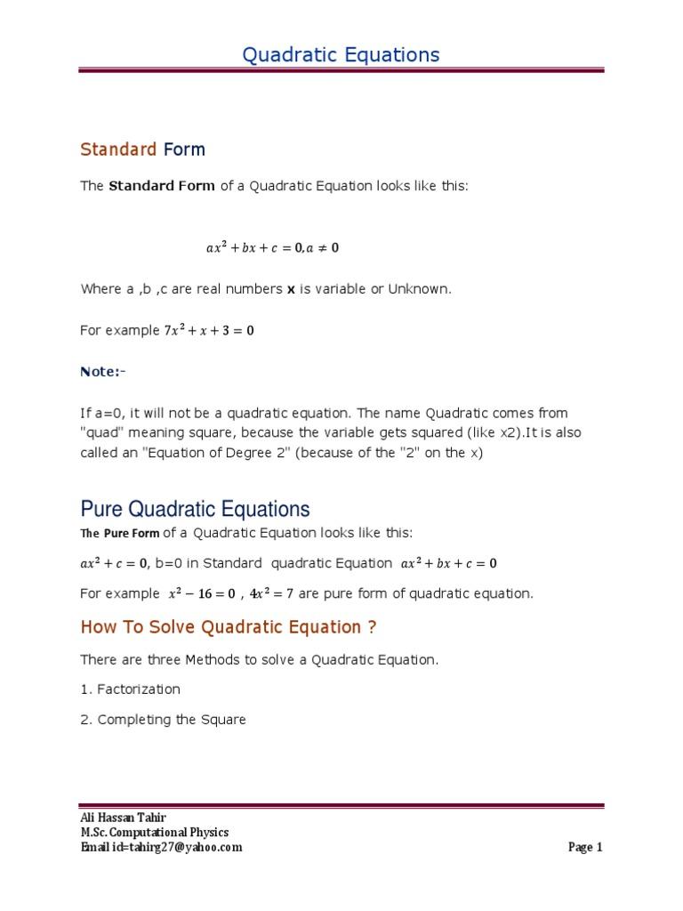 Quadratic Equations Factorization Quadratic Equation