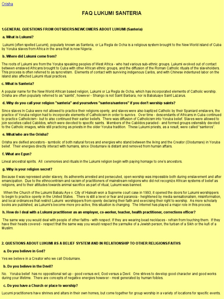 frequently asked questions orisha worship   Santería   Priest