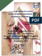 Problemas Relacionados al Medicamento  en Pacientes Hospitalizados del Hospital Regional Docente Materno Infantil El Carmen-Huancayo 2015