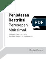 Buku Penjelasan Restriksi Dan Peresepan Maksimal DPHO Edisi XXXII Tahun 2013