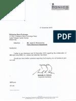 PSE disclosure - Ionics Inc.