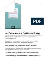 An Occurance at Owl Creek Bridge - Third Person Limited, Offhanded Accurate Heightened Awareness