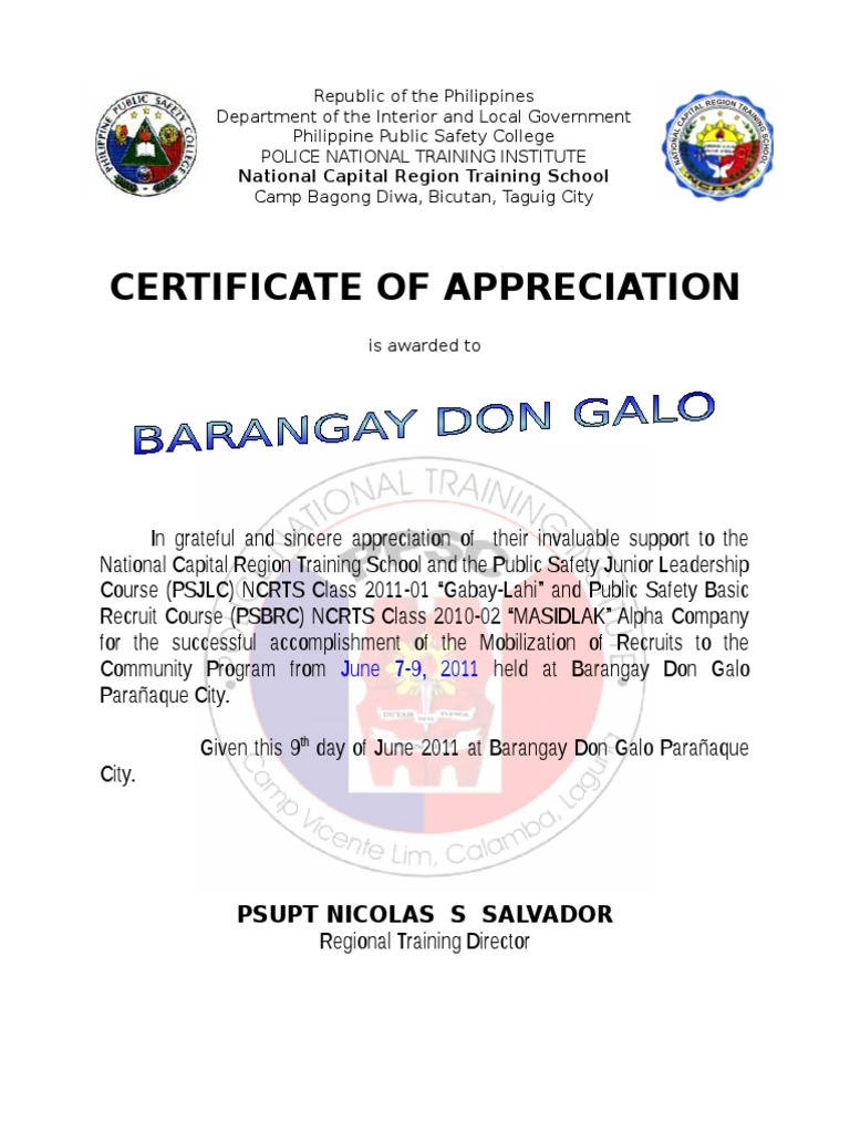 Ncrts certificate of appreciation for don galo brgy captain and ncrts certificate of appreciation for don galo brgy captain and kagawad metro manila law enforcement xflitez Image collections