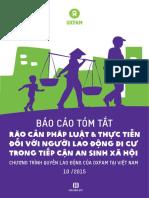 Báo cáo về Rào cản pháp luật & thực tiễn đối với người lao động di cư trong tiếp cận an sinh xã hội