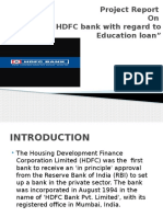 A Study on HDFC Bank With Regard to Education Loan