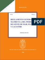 Reglamento General de Matricula Del Personal de Gente de Mar Fluvial y Lacustre