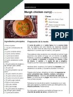 1. Curry de Pollo (Murgh Chicken Curry)