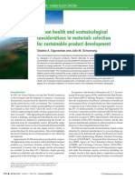 Human health and ecotoxicological considerations in materials selection for sustainable product development