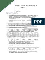 Procedimento de Calibração Das Balanças Welmy