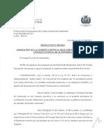 Aprobación de las Modificaciones al Reglamento Interno del Consejo Nacional de Autonomías