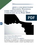 Comentarios a los resultados de la IX Encuesta Nacional sobre percepciones de la corrupción en el Perú 2015