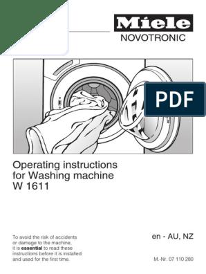 Operating Manual_Miele washing machine w1611 | Washing Machine | Laundry