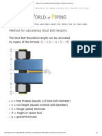 Method for Calculating Stud Bolt Lengths for Flanged Connections