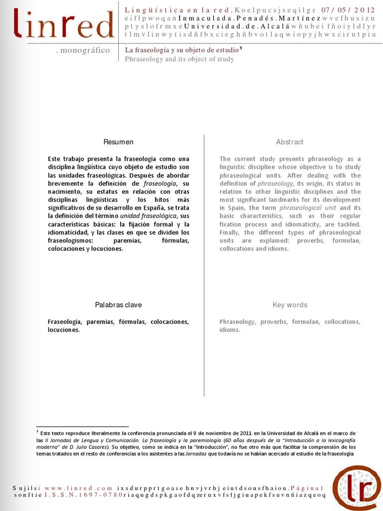 PENADÉS, Inmaculada (2011) - La fraseología y su objeto de estudio ...