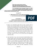 Adjudication Order against GMR Holdings Pvt. Ltd and Shri Srinivas Bommidala in the matter of Parrys Sugar Industries Ltd