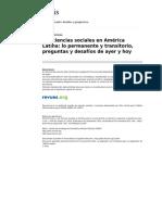 Las Ciencias Sociales en America Latina Lo Permanente y Transitorio Preguntas y Desafios de Ayer y Hoy