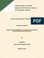 Manual de Procedimientos y Etapas de Investigacion en Un Estudio de Geotecnia Vial