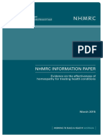 NHMRC Evidence on the Effectiveness of Homeopathy
