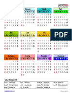 2016 Calendar Landscape Year at a Glance in Color