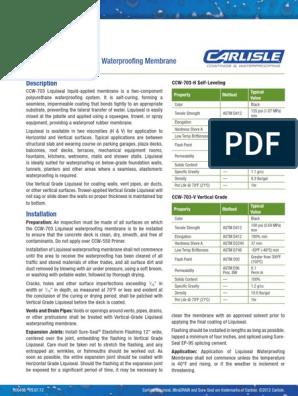 CCW 703 Liquiseal Liquid Applied Waterproofing Membrane