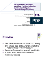 Avoiding E-Discovery Meltdown - Hot Topics and Best Practices in Government Records Management (From a Record Keeping Perspective)