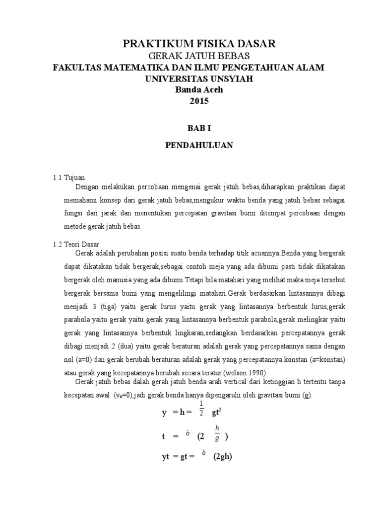 Laporan Praktikum Fisika Dasar Gerak Jatuh Bebas