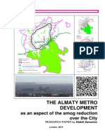 THE ALMATY METRO DEVELOPMENT as an aspect of the smog reduction over the City / Recearch Paper by Gleb K.Samoilov, 2015