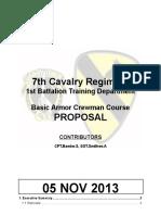 Basic Armor Crewman Course Proposal