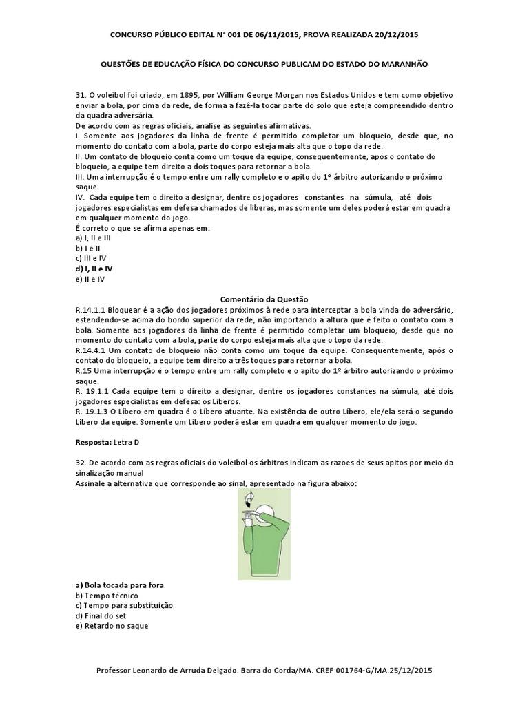 Questões de Educação Física do Concurso Publico Do Estado Do ... 28d58d5b1933b