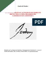Un inedito autografo di Giordano Bruno