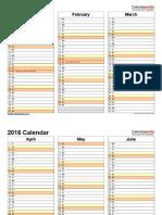 2016 Calendar Landscape 4 Pages