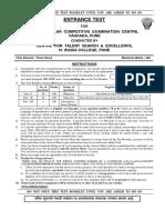Entrance Test Question Paper-2013-2014